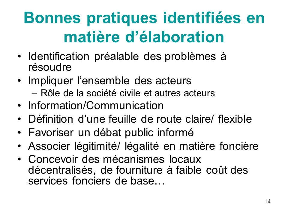 14 Bonnes pratiques identifiées en matière délaboration Identification préalable des problèmes à résoudre Impliquer lensemble des acteurs –Rôle de la