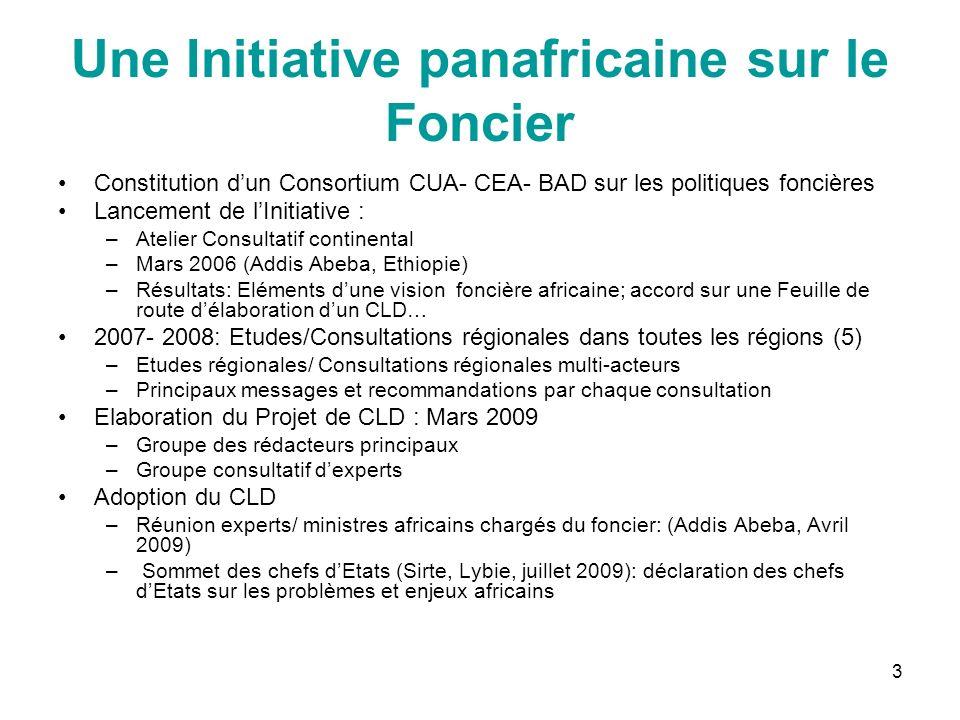 3 Une Initiative panafricaine sur le Foncier Constitution dun Consortium CUA- CEA- BAD sur les politiques foncières Lancement de lInitiative : –Atelie