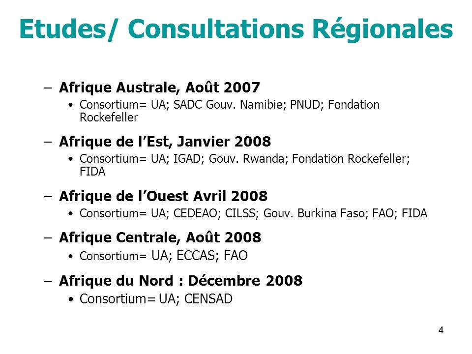 44 Etudes/ Consultations Régionales –Afrique Australe, Août 2007 Consortium= UA; SADC Gouv. Namibie; PNUD; Fondation Rockefeller –Afrique de lEst, Jan