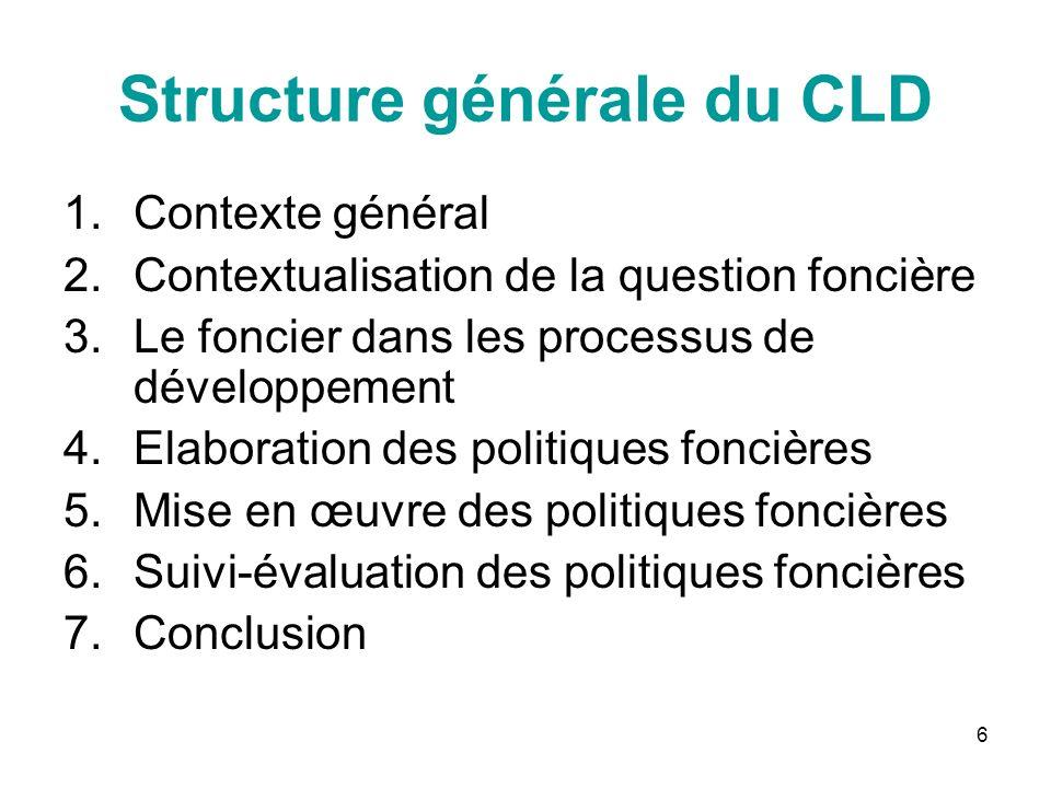 6 Structure générale du CLD 1.Contexte général 2.Contextualisation de la question foncière 3.Le foncier dans les processus de développement 4.Elaborat