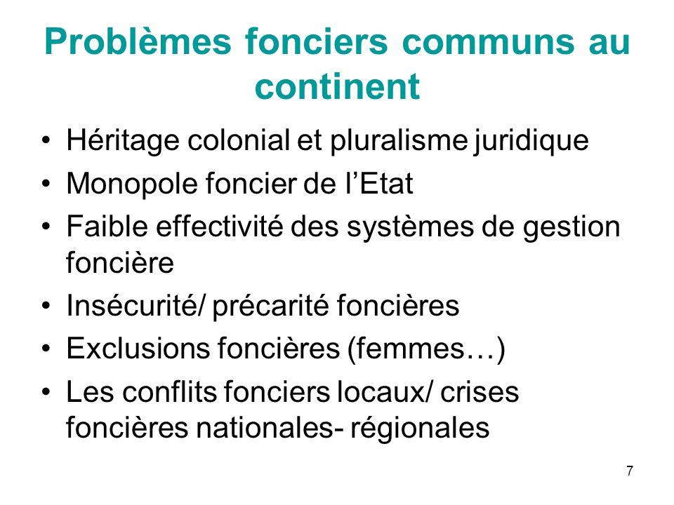 7 Problèmes fonciers communs au continent Héritage colonial et pluralisme juridique Monopole foncier de lEtat Faible effectivité des systèmes de gesti