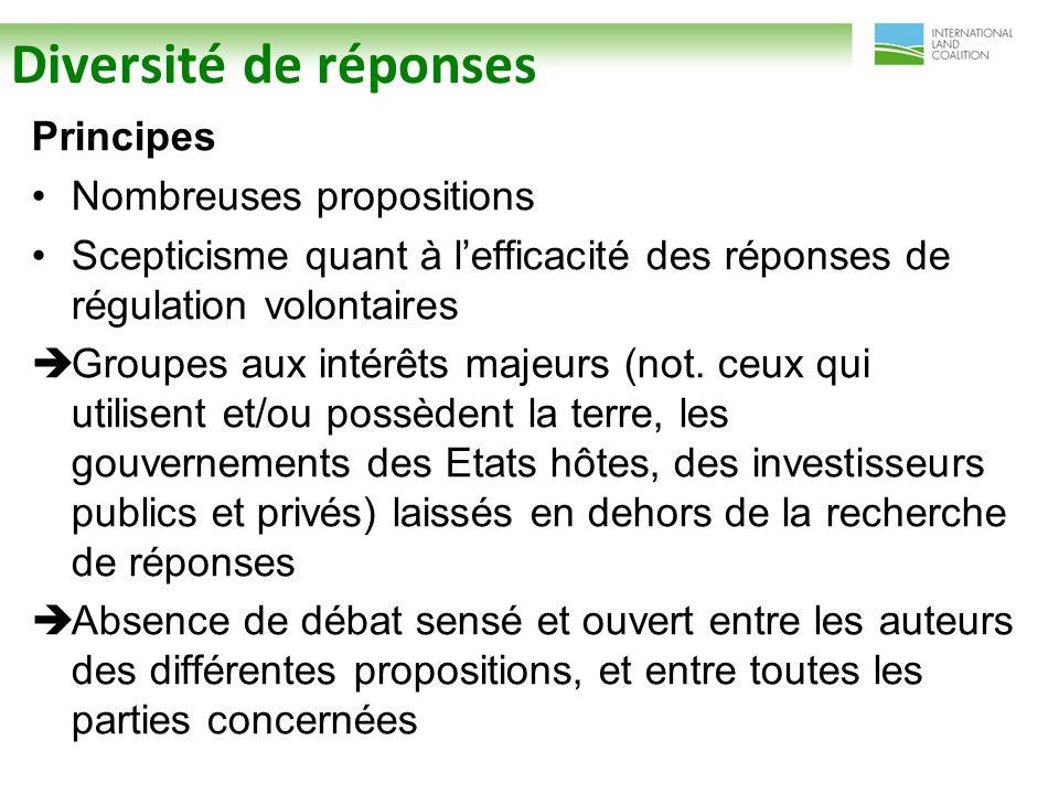 Diversité de réponses Principes Nombreuses propositions Scepticisme quant à lefficacité des réponses de régulation volontaires Groupes aux intérêts majeurs (not.