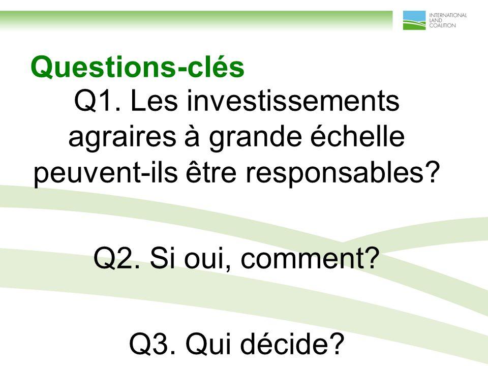 Questions-clés Q1. Les investissements agraires à grande échelle peuvent-ils être responsables.