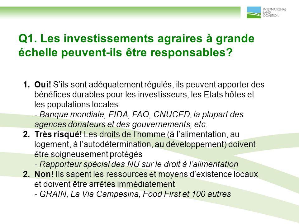 Q1. Les investissements agraires à grande échelle peuvent-ils être responsables.