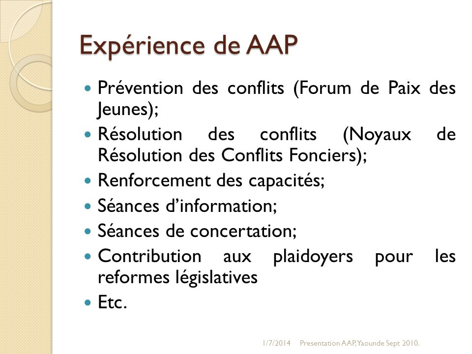1/7/2014Presentation AAP, Yaounde Sept 2010. Cartographie des structures AAP