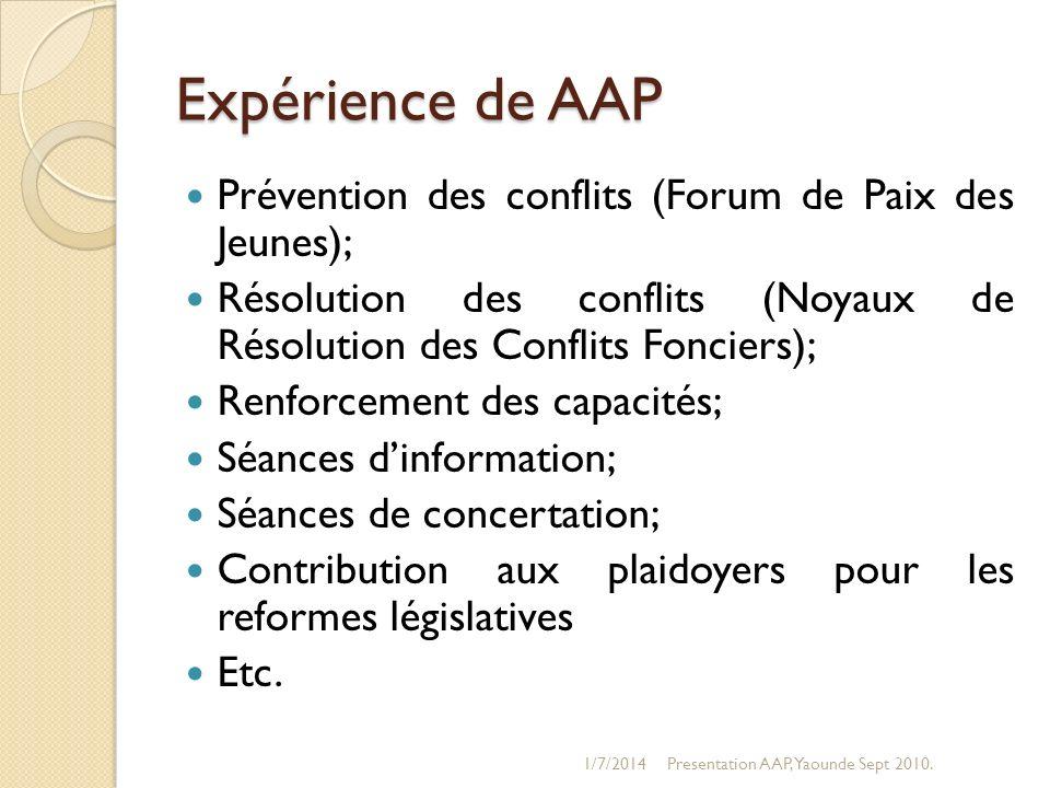 Expérience de AAP Prévention des conflits (Forum de Paix des Jeunes); Résolution des conflits (Noyaux de Résolution des Conflits Fonciers); Renforceme