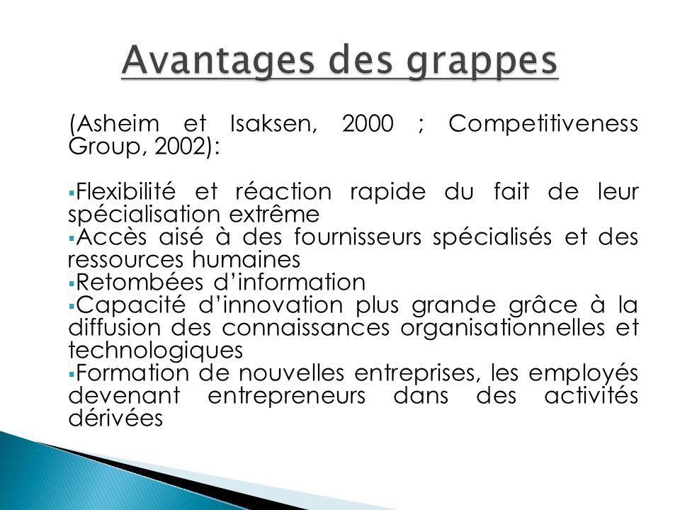 (Asheim et Ιsaksen, 2000 ; Competitiveness Group, 2002): Flexibilité et réaction rapide du fait de leur spécialisation extrême Accès aisé à des fourni