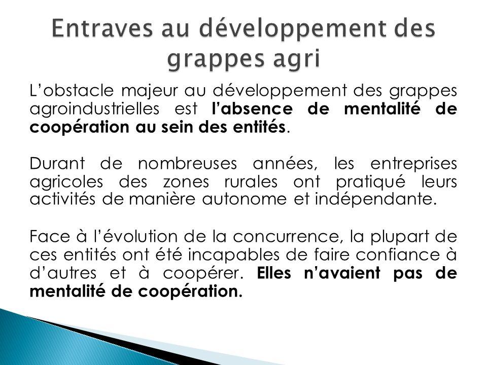 Lobstacle majeur au développement des grappes agroindustrielles est labsence de mentalité de coopération au sein des entités. Durant de nombreuses ann