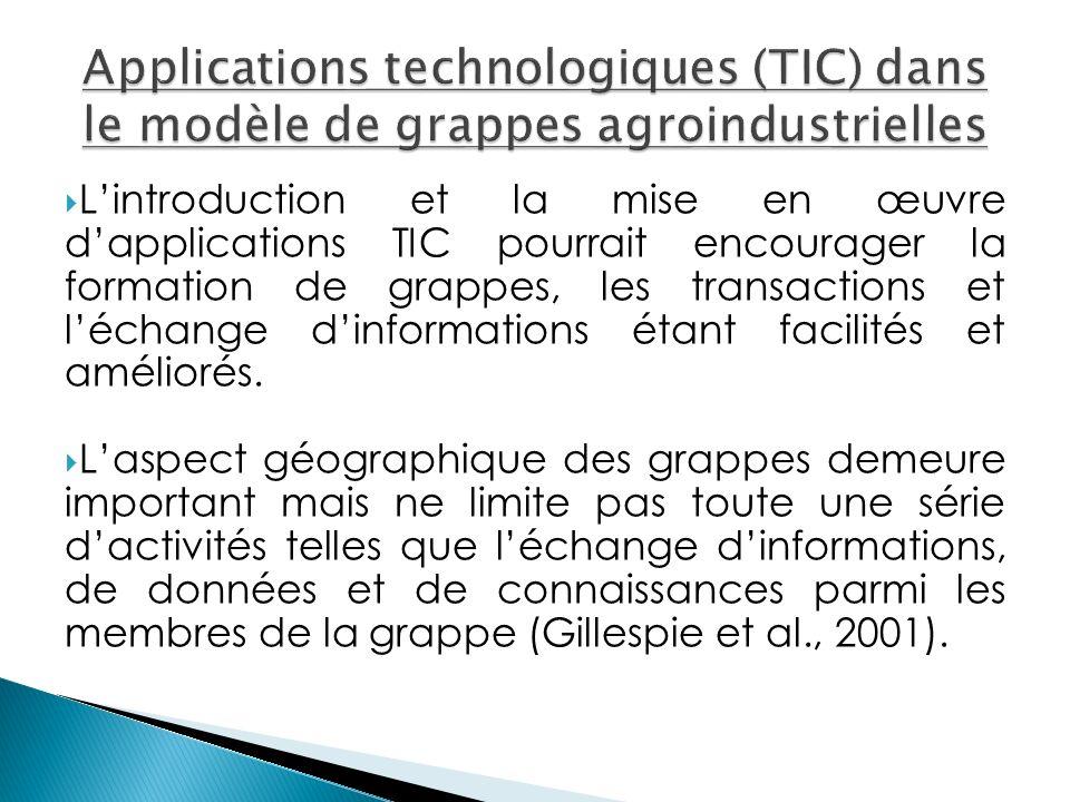 Lintroduction et la mise en œuvre dapplications TIC pourrait encourager la formation de grappes, les transactions et léchange dinformations étant facilités et améliorés.