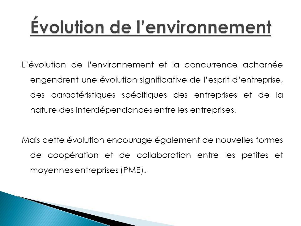 Lévolution de lenvironnement et la concurrence acharnée engendrent une évolution significative de lesprit dentreprise, des caractéristiques spécifique