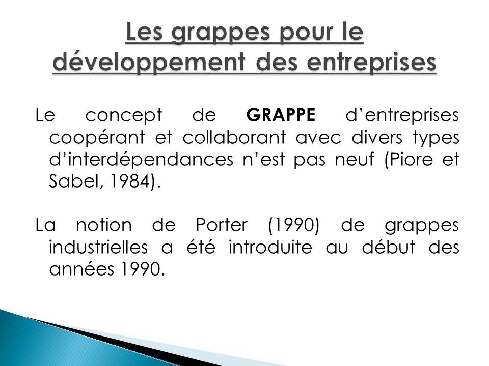 Le concept de GRAPPE dentreprises coopérant et collaborant avec divers types dinterdépendances nest pas neuf (Piore et Sabel, 1984). La notion de Port