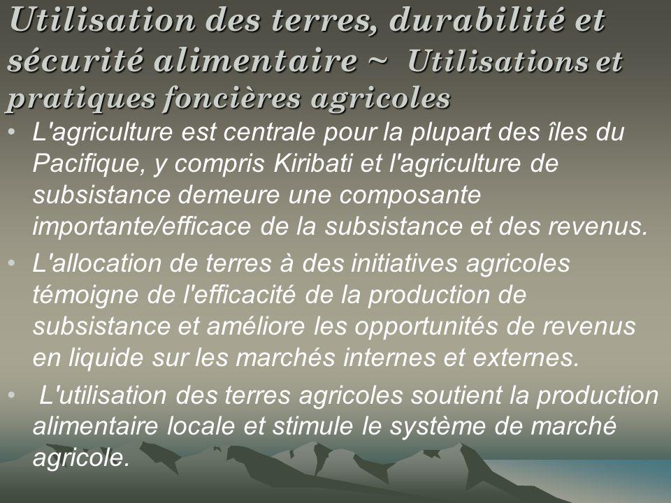Utilisation des terres, durabilité et sécurité alimentaire ~ Utilisations et pratiques foncières agricoles L'agriculture est centrale pour la plupart