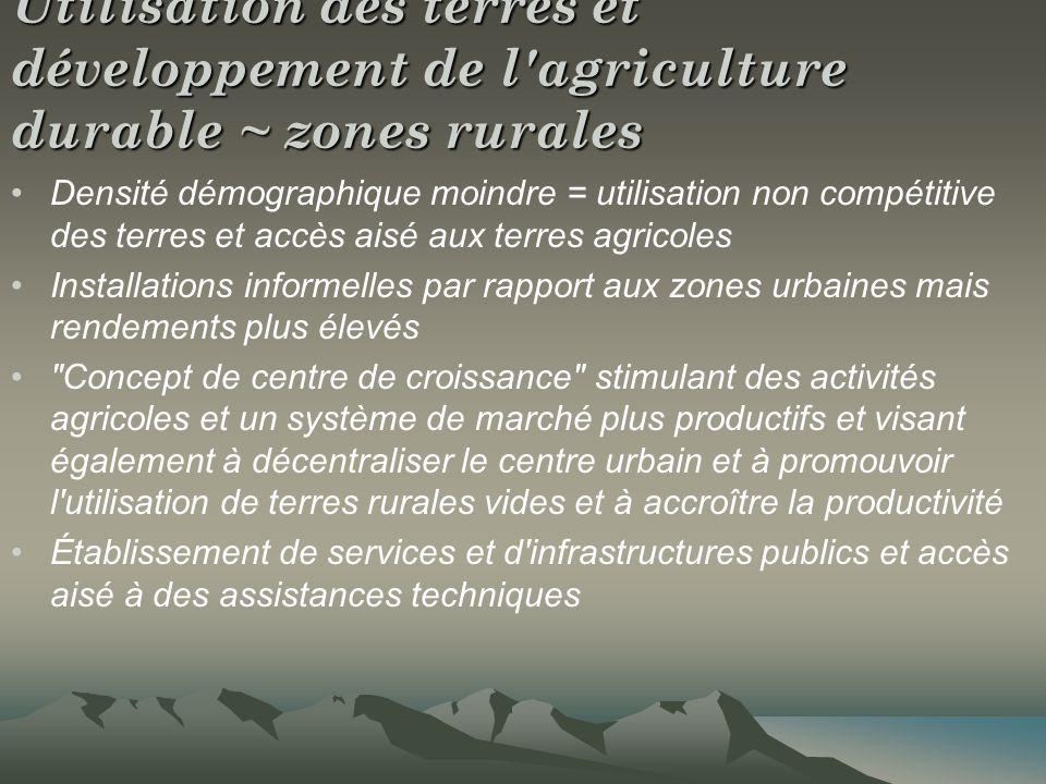 Utilisation des terres et développement de l'agriculture durable ~ zones rurales Densité démographique moindre = utilisation non compétitive des terre