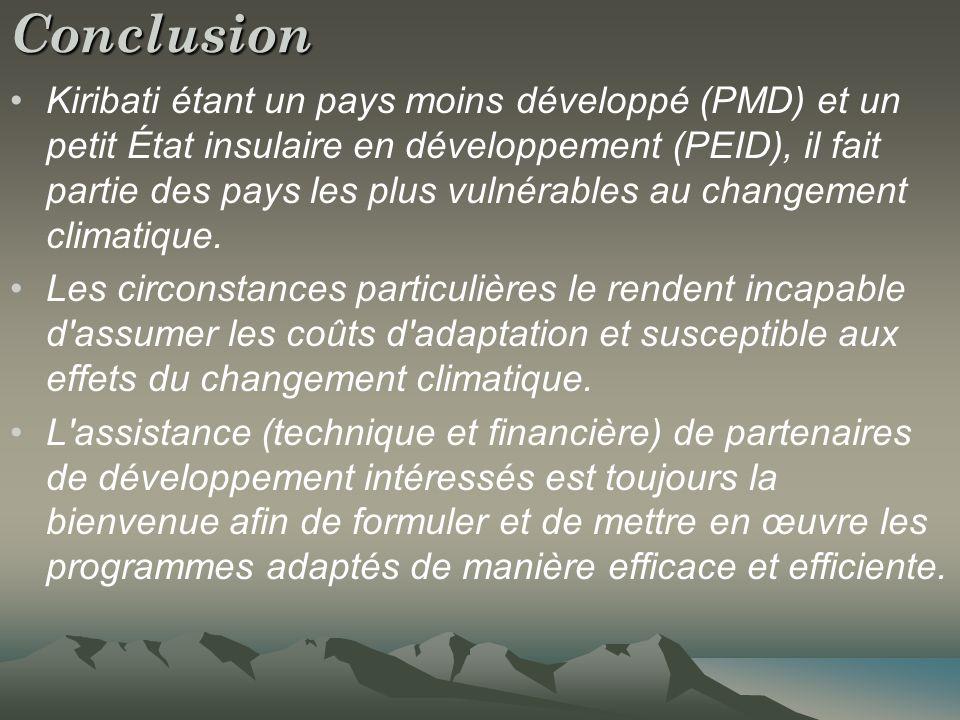 Conclusion Kiribati étant un pays moins développé (PMD) et un petit État insulaire en développement (PEID), il fait partie des pays les plus vulnérables au changement climatique.