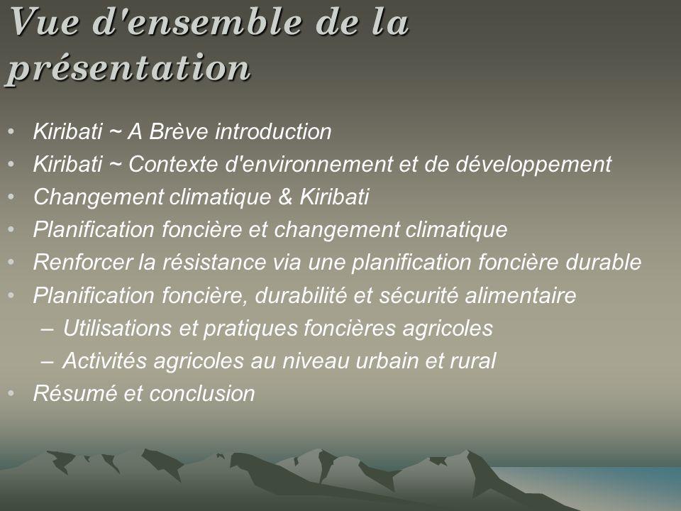 Vue d'ensemble de la présentation Kiribati ~ A Brève introduction Kiribati ~ Contexte d'environnement et de développement Changement climatique & Kiri