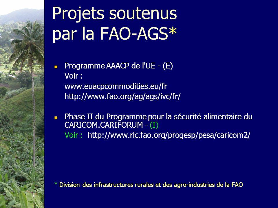 Projets soutenus par la FAO-AGS* Programme AAACP de l'UE - (E) Voir : www.euacpcommodities.eu/fr http://www.fao.org/ag/ags/ivc/fr/ Phase II du Program