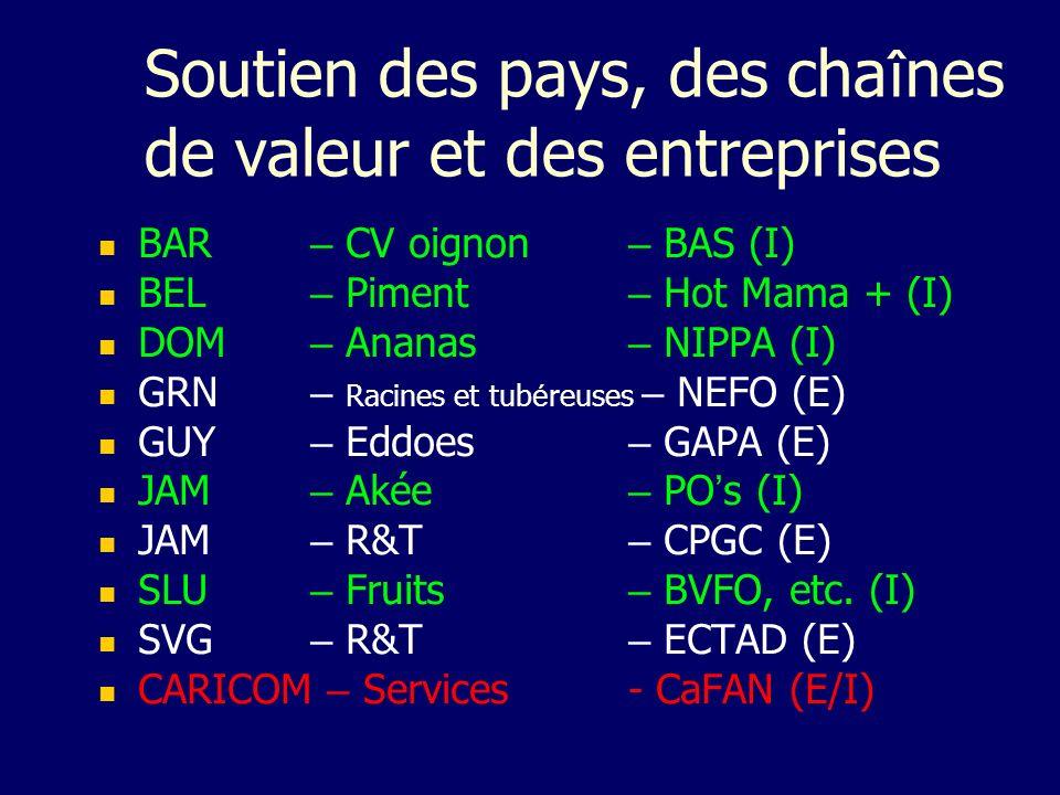 Soutien des pays, des cha î nes de valeur et des entreprises BAR – CV oignon – BAS (I) BEL – Piment – Hot Mama + (I) DOM – Ananas – NIPPA (I) GRN – Ra