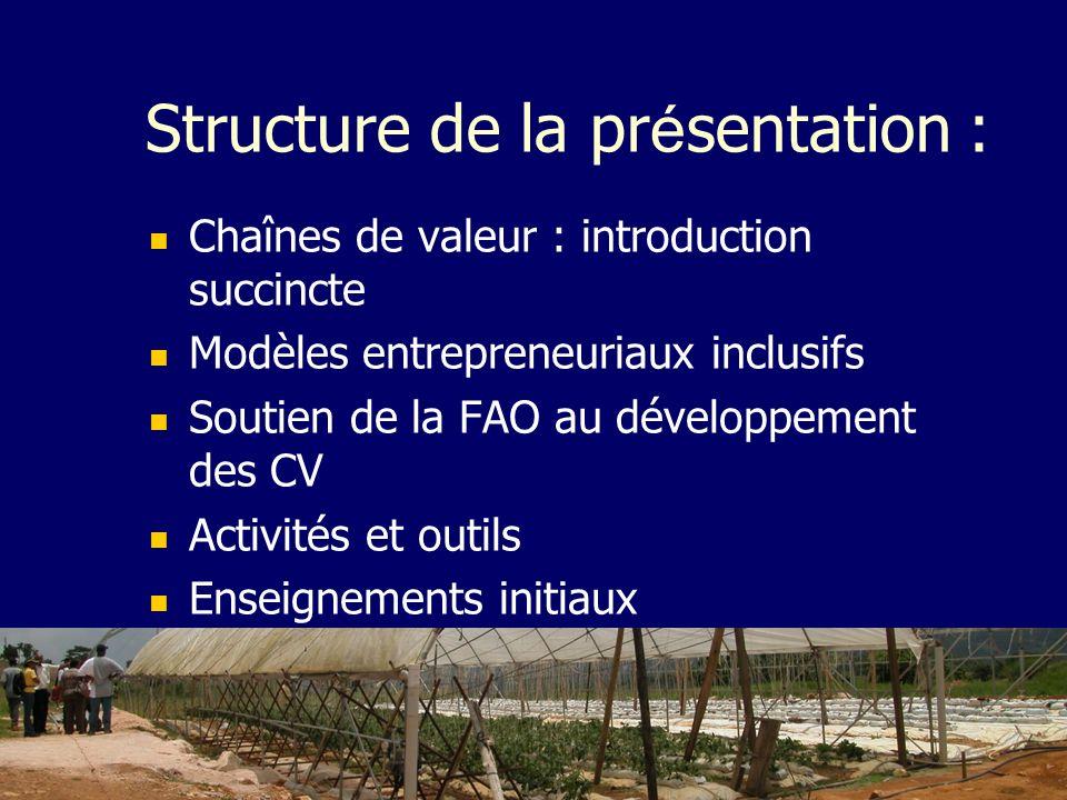 Structure de la pr é sentation : Chaînes de valeur : introduction succincte Modèles entrepreneuriaux inclusifs Soutien de la FAO au développement des