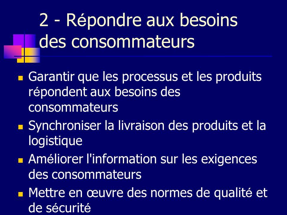 2 - R é pondre aux besoins des consommateurs Garantir que les processus et les produits r é pondent aux besoins des consommateurs Synchroniser la livr