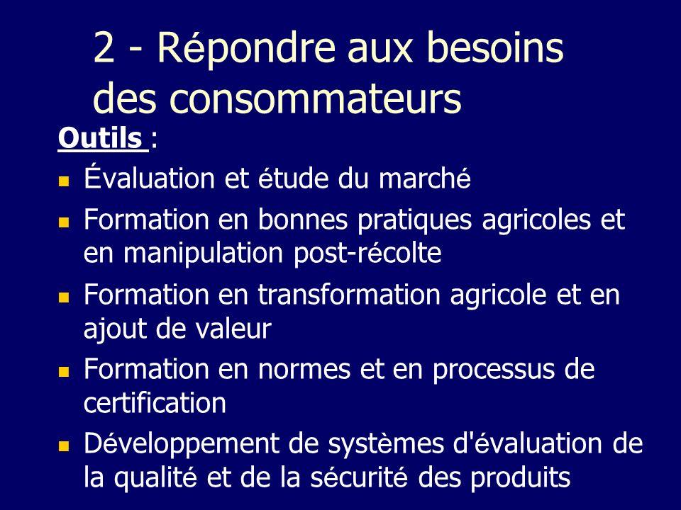 2 - R é pondre aux besoins des consommateurs Outils : É valuation et é tude du march é Formation en bonnes pratiques agricoles et en manipulation post