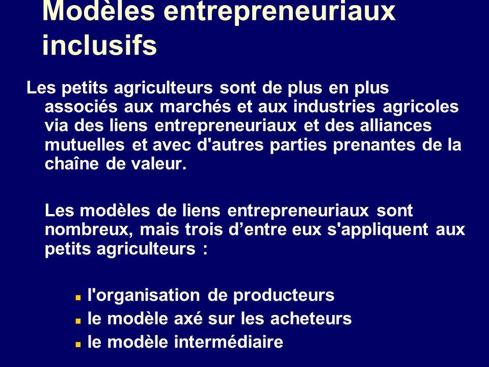 Modèles entrepreneuriaux inclusifs Les petits agriculteurs sont de plus en plus associés aux marchés et aux industries agricoles via des liens entrepr