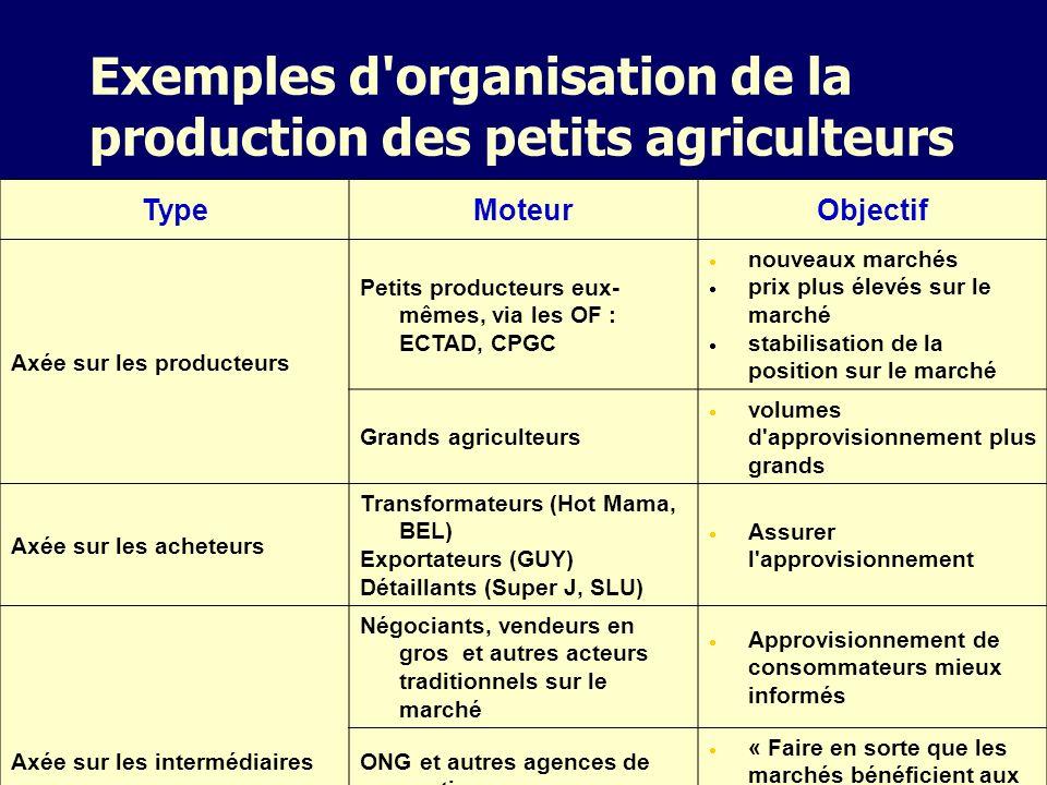 Exemples d'organisation de la production des petits agriculteurs TypeMoteurObjectif Axée sur les producteurs Petits producteurs eux- mêmes, via les OF