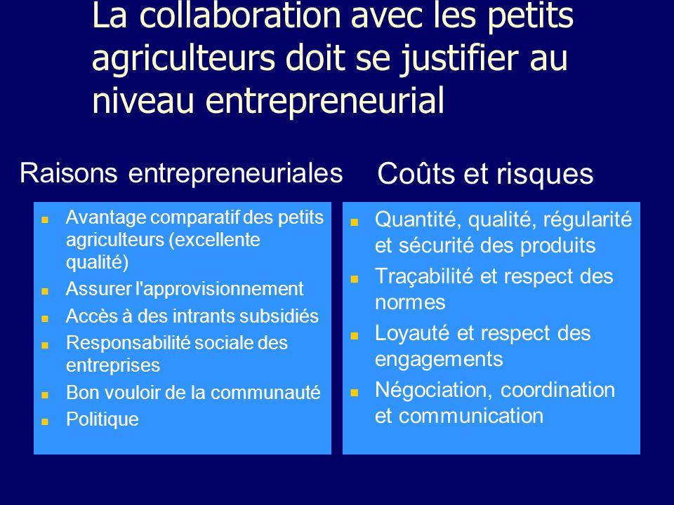 La collaboration avec les petits agriculteurs doit se justifier au niveau entrepreneurial Avantage comparatif des petits agriculteurs (excellente qual