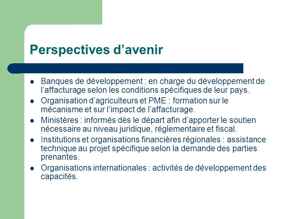 Perspectives davenir Banques de développement : en charge du développement de laffacturage selon les conditions spécifiques de leur pays.