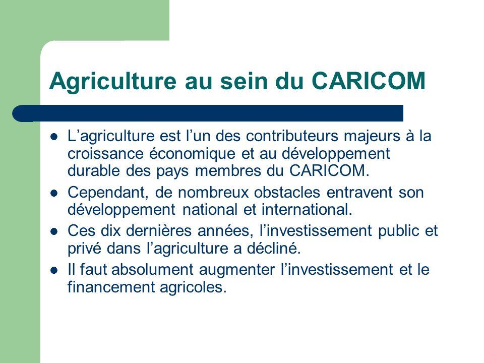Agriculture au sein du CARICOM Lagriculture est lun des contributeurs majeurs à la croissance économique et au développement durable des pays membres du CARICOM.