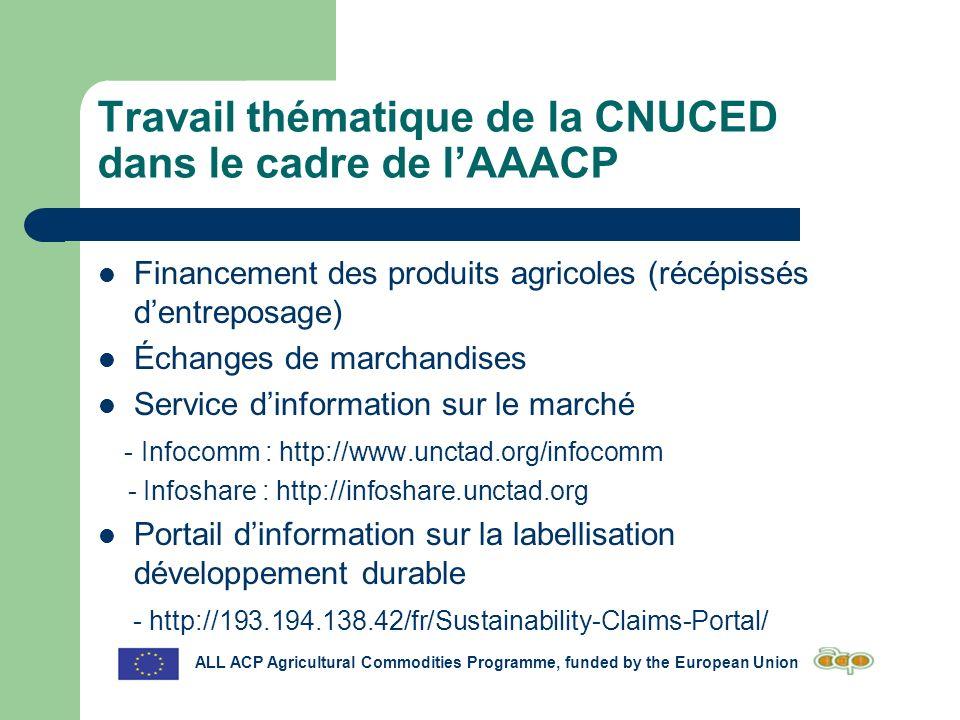 Travail thématique de la CNUCED dans le cadre de lAAACP Financement des produits agricoles (récépissés dentreposage) Échanges de marchandises Service dinformation sur le marché - Infocomm : http://www.unctad.org/infocomm - Infoshare : http://infoshare.unctad.org Portail dinformation sur la labellisation développement durable - http://193.194.138.42/fr/Sustainability-Claims-Portal/ ALL ACP Agricultural Commodities Programme, funded by the European Union