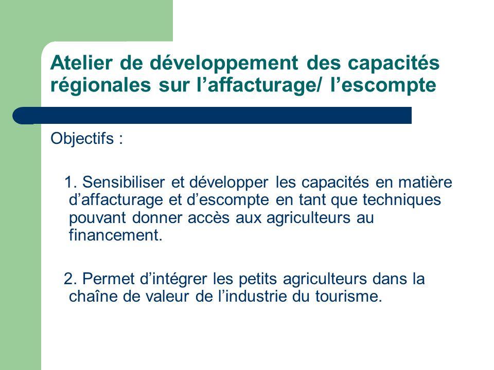 Atelier de développement des capacités régionales sur laffacturage/ lescompte Objectifs : 1.