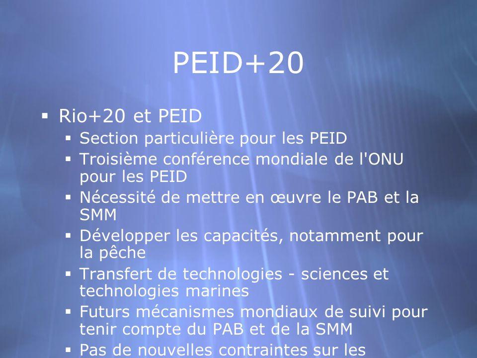 PEID+20 Rio+20 et PEID Section particulière pour les PEID Troisième conférence mondiale de l ONU pour les PEID Nécessité de mettre en œuvre le PAB et la SMM Développer les capacités, notamment pour la pêche Transfert de technologies - sciences et technologies marines Futurs mécanismes mondiaux de suivi pour tenir compte du PAB et de la SMM Pas de nouvelles contraintes sur les capacités des PEID, obligation de rapport Rio+20 et PEID Section particulière pour les PEID Troisième conférence mondiale de l ONU pour les PEID Nécessité de mettre en œuvre le PAB et la SMM Développer les capacités, notamment pour la pêche Transfert de technologies - sciences et technologies marines Futurs mécanismes mondiaux de suivi pour tenir compte du PAB et de la SMM Pas de nouvelles contraintes sur les capacités des PEID, obligation de rapport
