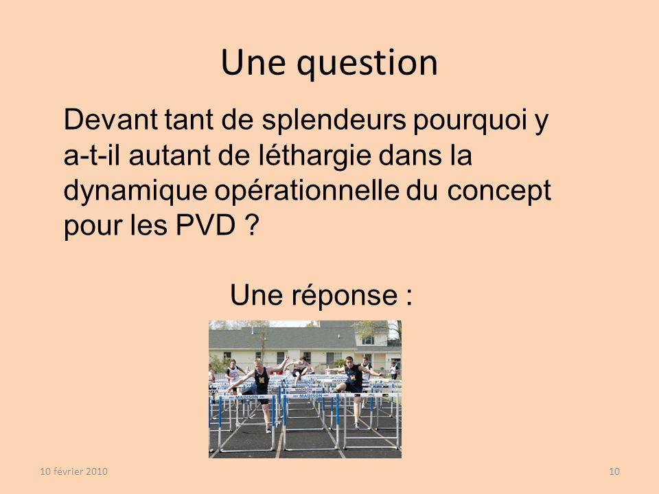 Une question 10 février 201010 Devant tant de splendeurs pourquoi y a-t-il autant de léthargie dans la dynamique opérationnelle du concept pour les PVD .