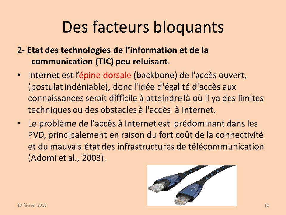 Des facteurs bloquants 2- Etat des technologies de linformation et de la communication (TIC) peu reluisant.