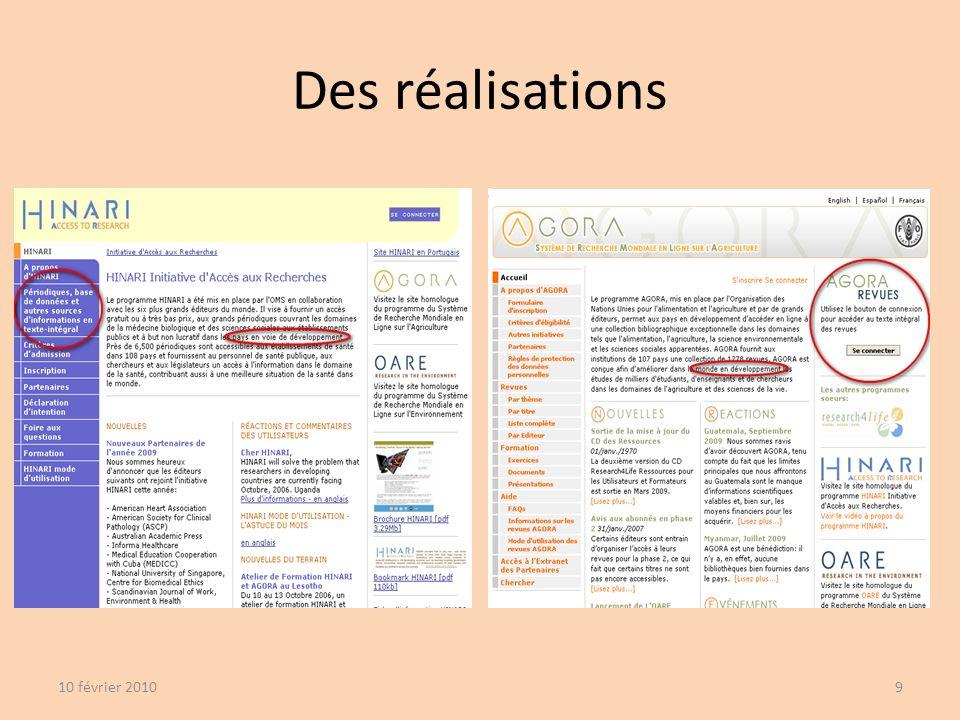 Des réalisations 10 février 20109