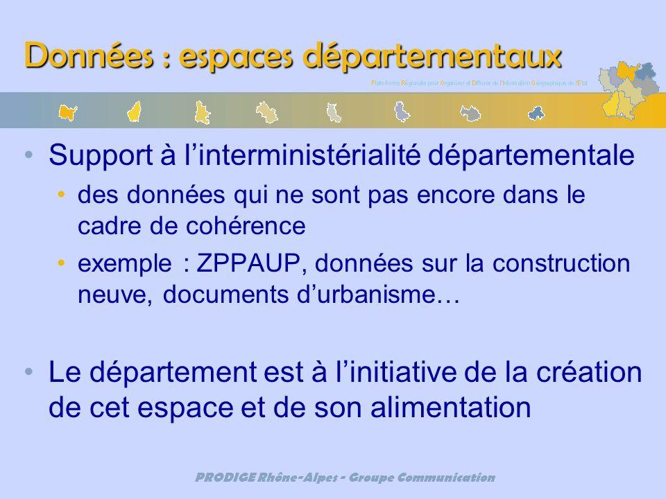 PRODIGE Rhône-Alpes - Groupe Communication Données : espaces départementaux Support à linterministérialité départementale des données qui ne sont pas