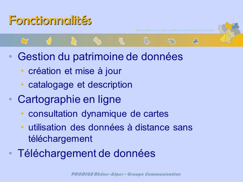 PRODIGE Rhône-Alpes - Groupe Communication Fonctionnalités Gestion du patrimoine de données création et mise à jour catalogage et description Cartogra