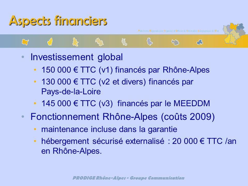 PRODIGE Rhône-Alpes - Groupe Communication Aspects financiers Investissement global 150 000 TTC (v1) financés par Rhône-Alpes 130 000 TTC (v2 et diver
