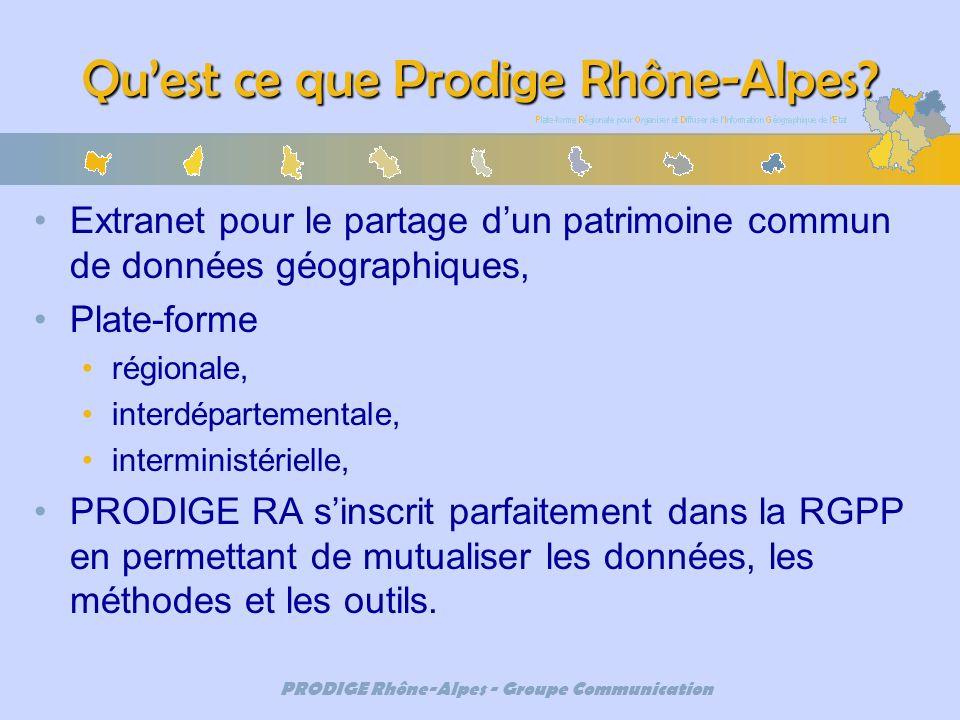 PRODIGE Rhône-Alpes - Groupe Communication Quest ce que Prodige Rhône-Alpes? Extranet pour le partage dun patrimoine commun de données géographiques,