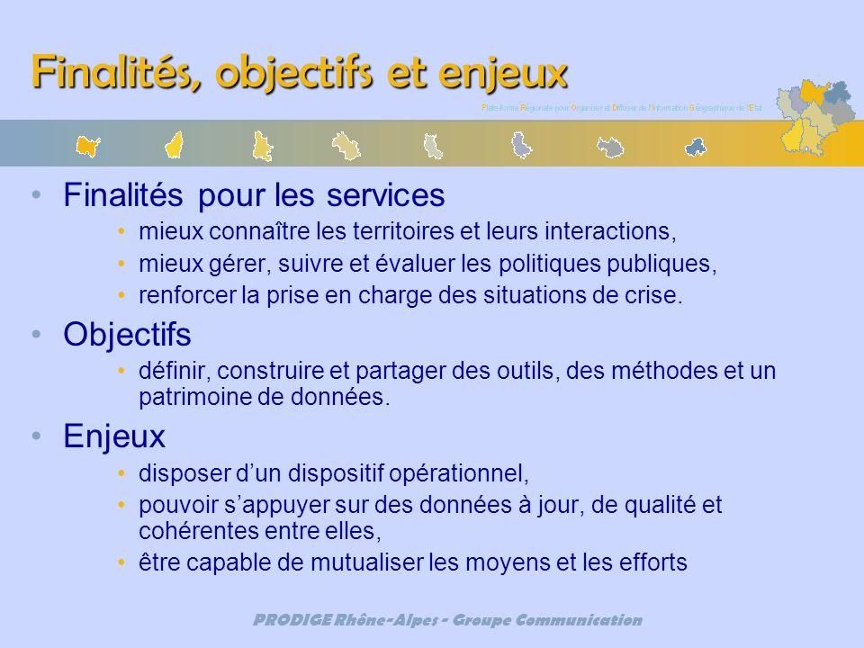 PRODIGE Rhône-Alpes - Groupe Communication Finalités, objectifs et enjeux Finalités pour les services mieux connaître les territoires et leurs interac