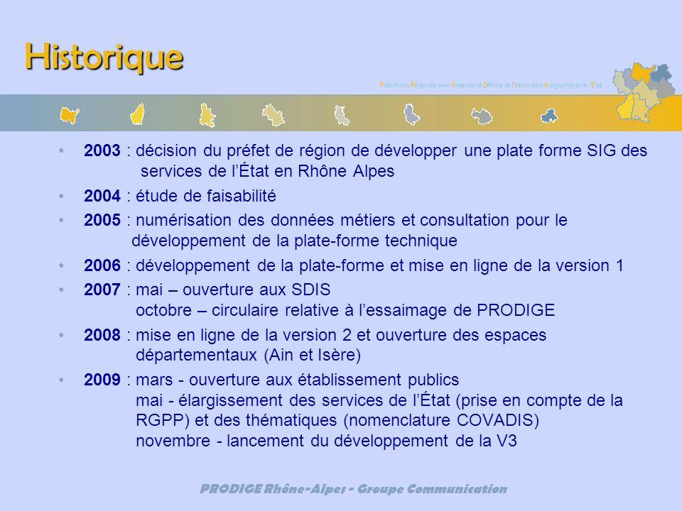 PRODIGE Rhône-Alpes - Groupe Communication Historique 2003 : décision du préfet de région de développer une plate forme SIG des services de lÉtat en R