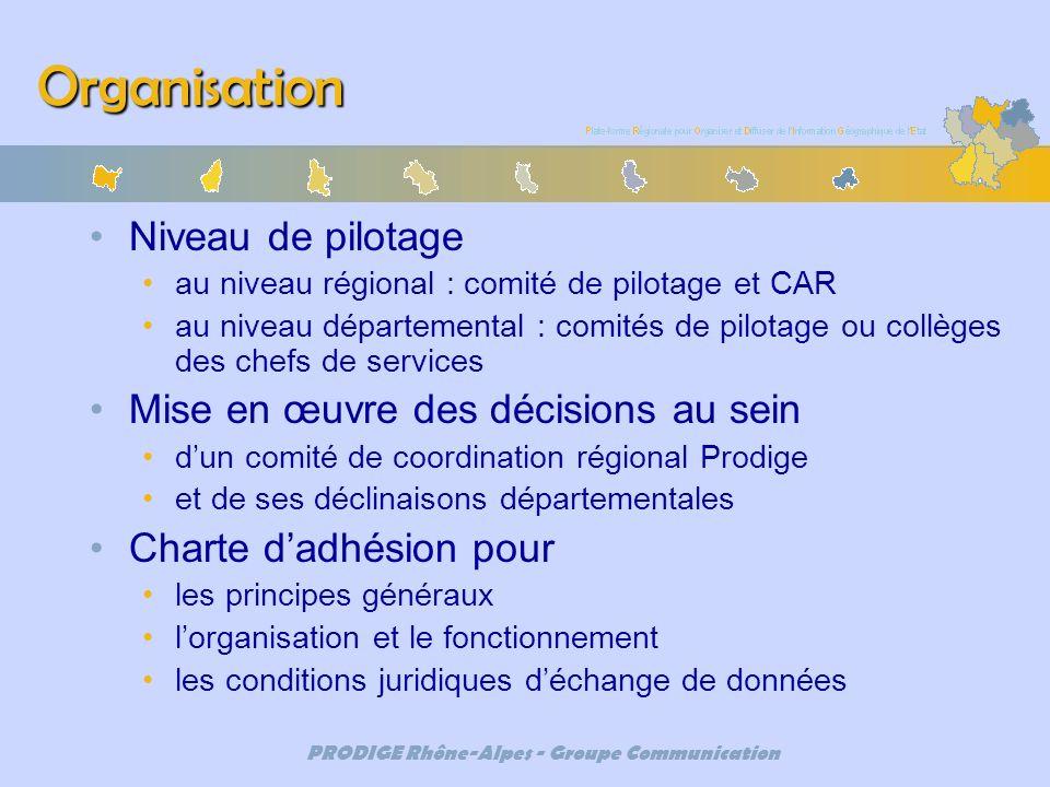 PRODIGE Rhône-Alpes - Groupe Communication Organisation Niveau de pilotage au niveau régional : comité de pilotage et CAR au niveau départemental : co