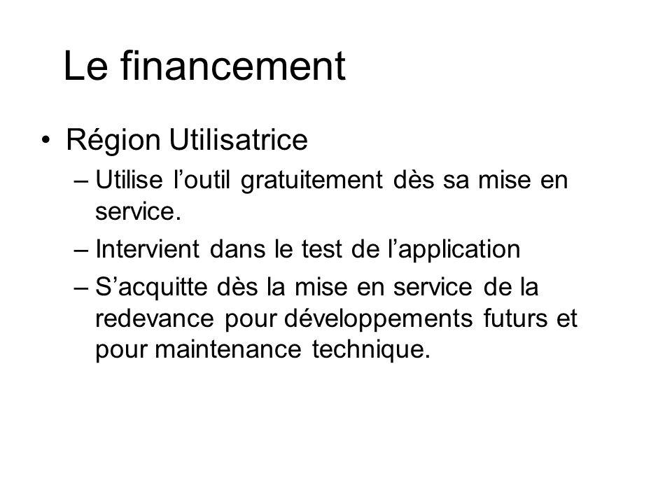 Le financement Région Utilisatrice –Utilise loutil gratuitement dès sa mise en service.