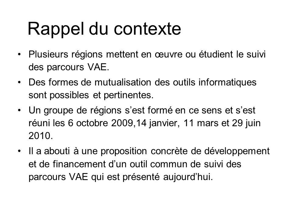Rappel du contexte Plusieurs régions mettent en œuvre ou étudient le suivi des parcours VAE.