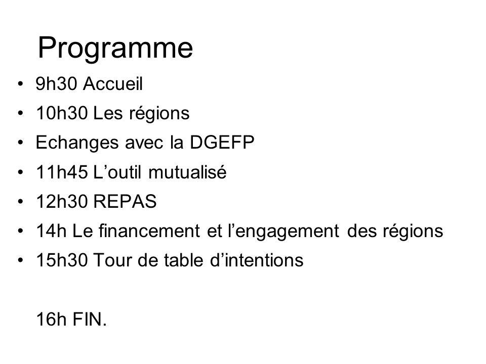 Programme 9h30 Accueil 10h30 Les régions Echanges avec la DGEFP 11h45 Loutil mutualisé 12h30 REPAS 14h Le financement et lengagement des régions 15h30 Tour de table dintentions 16h FIN.