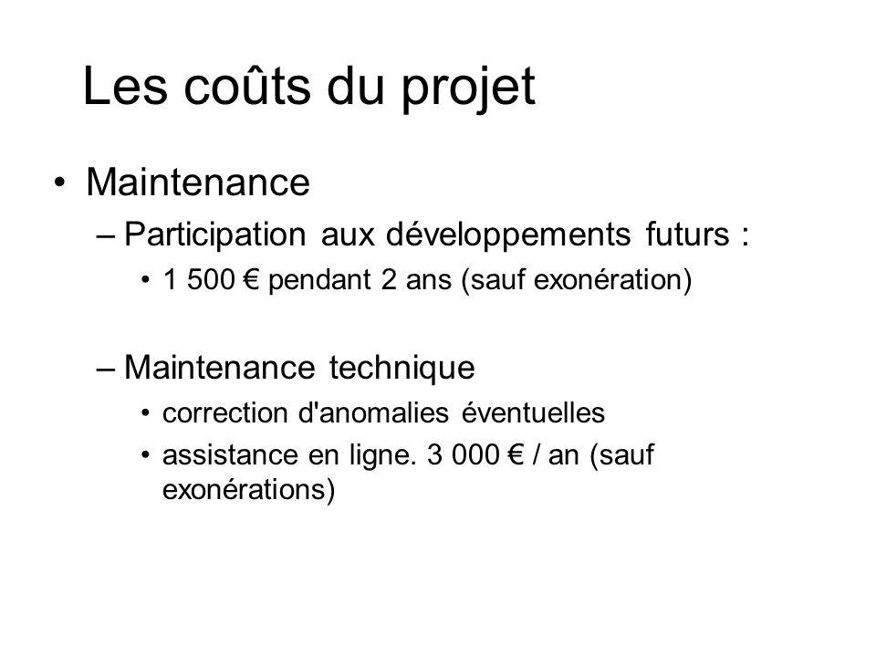 Les coûts du projet Maintenance –Participation aux développements futurs : 1 500 pendant 2 ans (sauf exonération) –Maintenance technique correction d anomalies éventuelles assistance en ligne.