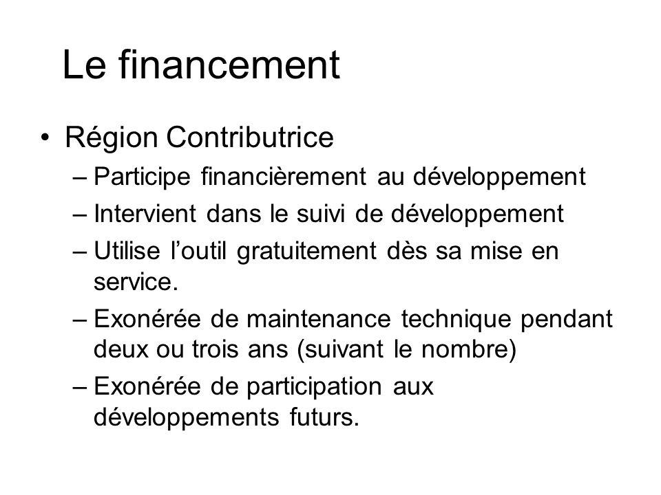Le financement Région Contributrice –Participe financièrement au développement –Intervient dans le suivi de développement –Utilise loutil gratuitement dès sa mise en service.
