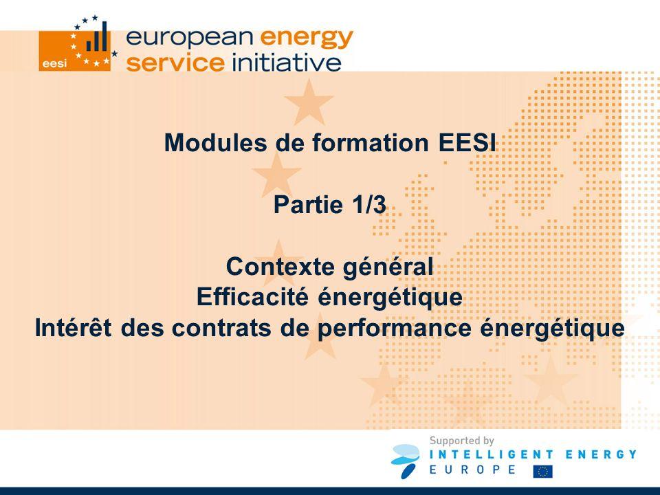 Modules de formation EESI Partie 1/3 Contexte général Efficacité énergétique Intérêt des contrats de performance énergétique