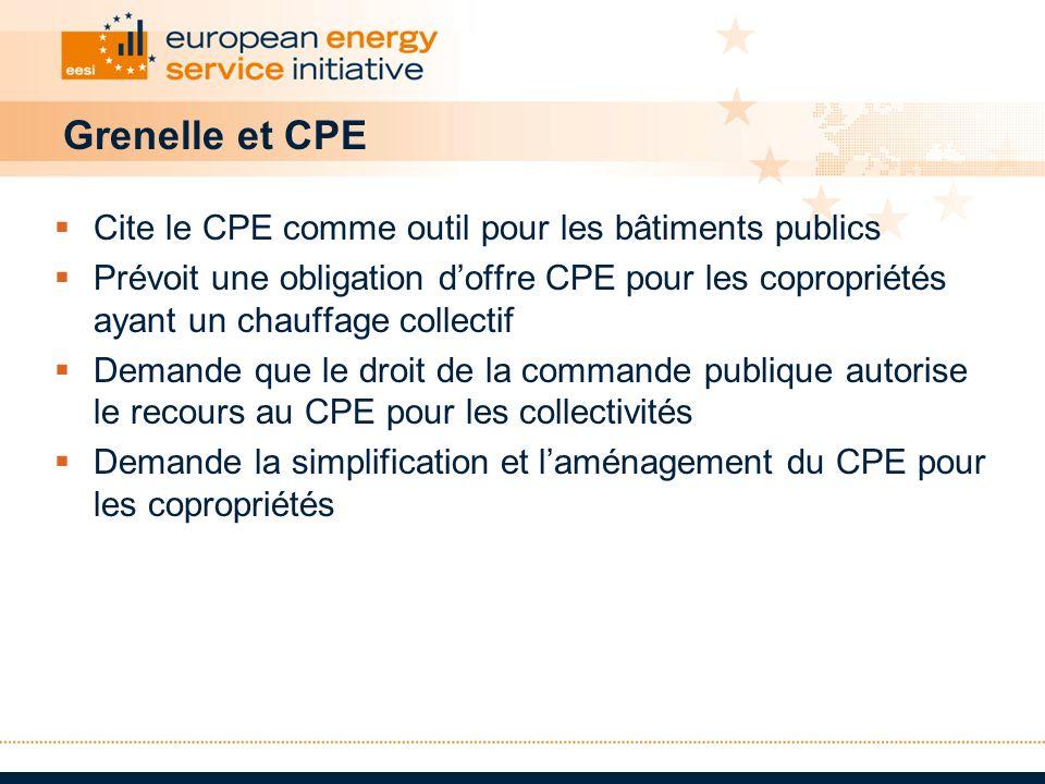 Grenelle et CPE Cite le CPE comme outil pour les bâtiments publics Prévoit une obligation doffre CPE pour les copropriétés ayant un chauffage collecti