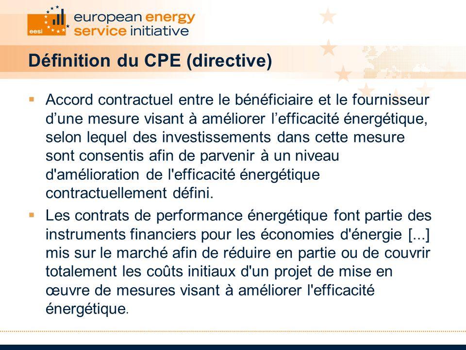 Définition du CPE (directive) Accord contractuel entre le bénéficiaire et le fournisseur dune mesure visant à améliorer lefficacité énergétique, selon